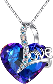 Love Heart Pendant Necklace for Women, Made with Sapphire Blue Swarovski Crystals September Birthstone Jewelry Gifts for Sister Girlfriend Wife Mother (18