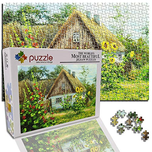 GFSJJ 1000 Piezas Jigsaw Puzzle para Adultos Kids Infantiles Adolescentes Hermosa Cabaña Puzzle 1000 Piezas Niños Navidad Juguetes (75 X 50 Cm)