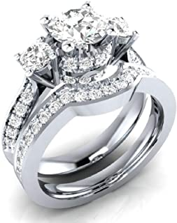 MAIHAO 2-in-1 Womens 925 Silver White Sapphire Ring Set Wedding Engagement Propose Engagement Ring Set Jewelry Size 6-10 (US Code 8)