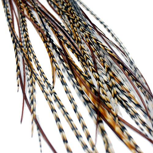 One Fine Day Feathers pelo garantía/Extension, de plumas auténticas (Color: Rojo Marrón