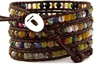 Multi Stone Wrap Bracelet on Brown Leather