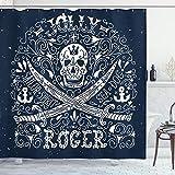 ABAKUHAUS Schädel Duschvorhang, Piraten Jolly Roger Flagge, mit 12 Ringe Set Wasserdicht Stielvoll Modern Farbfest & Schimmel Resistent, 175x180 cm, Dunkelblau & Weiß