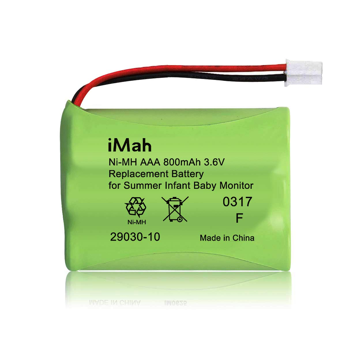 iMah Ryme B25 29030-10 Battery Compatible with Summer Infant Baby Monitor Battery Part Number 29030-10 | 3.6V 800mAh Ni-MH Connector with Square Hole
