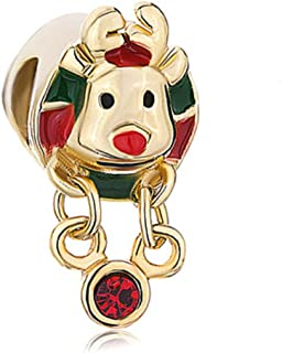JewelryHouse Golden Rudolph Reindeer Red Green Beads Charms for Bracelets