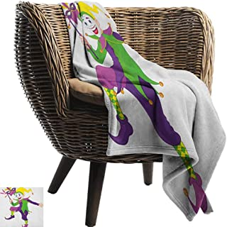 warmfamily Blanket Sheets Mardi Gras Cartoon Style Jester in Iconic Costume with Mask Happy Dancing Party Figure Bedroom Warm 60