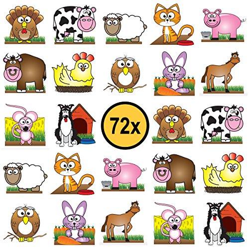 72 x Bauernhof Tiere Farm Kinder-Tattoos, temporäre Tattoos, Partygeschenke Kindergeburtstag, perfektes Mitgebsel, Gastgeschenke, wasserdicht, ungiftig und 100{70018243d4bd38f6bf1203662ab3261fecaba362d8e89677bf601ece732e5bb1} sicher. Dermatologisch getestet.
