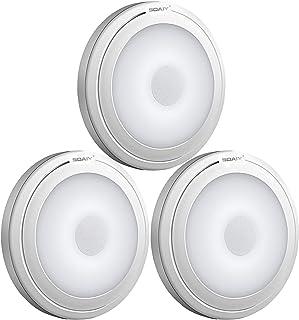 SOAIY 3pcs Lampe de Touche LED Éclairage de Nuit Autocollant Alimenté par 3 Piles/Batteries pour Penderie/Placard/Étagère/...