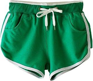 Women Sports Elastic Waist Solid Running Drawstring Shorts