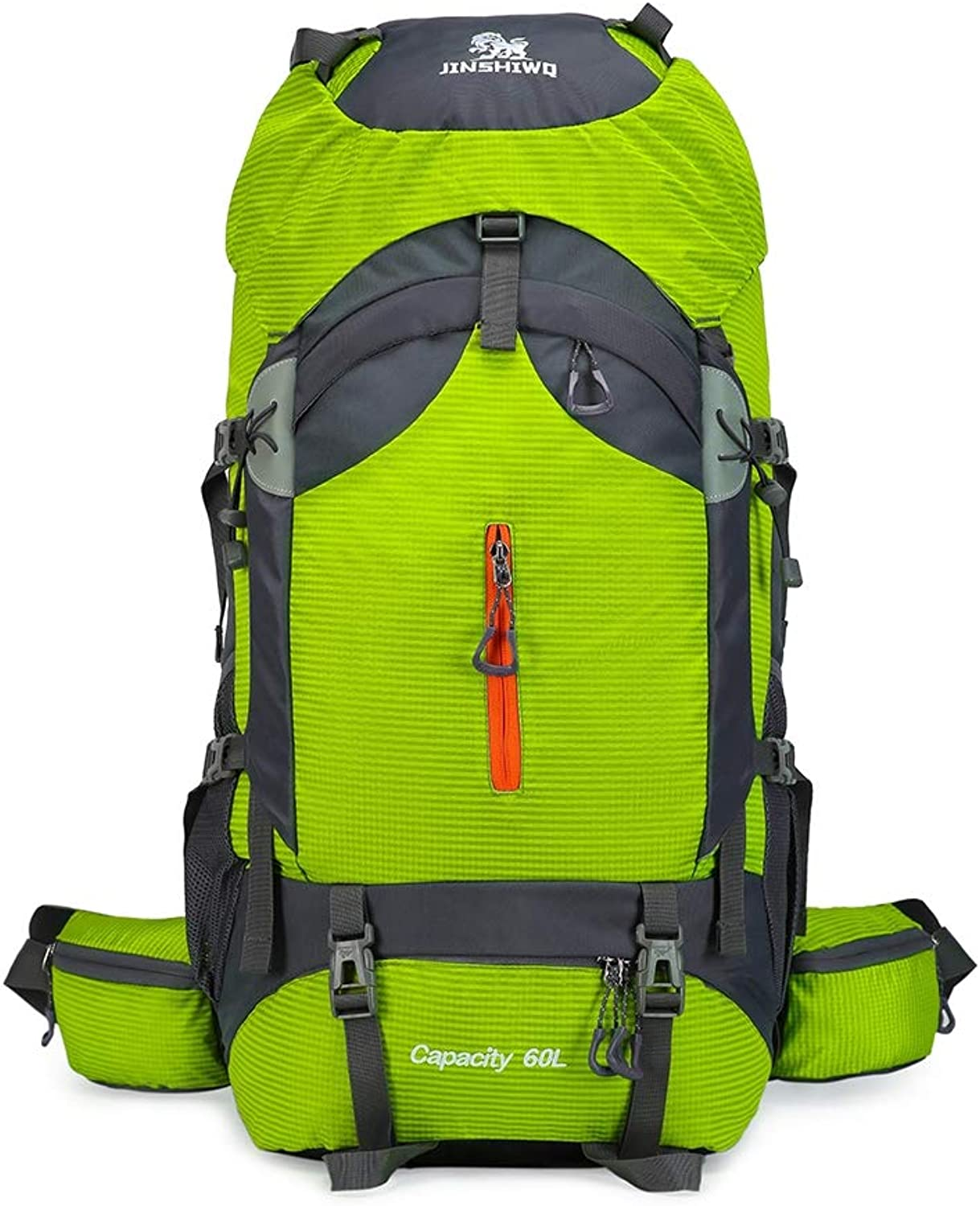 Outdoor Backpack Waterproof and Wearable Men and Women Models Suspended Back Frame Large Capacity 60L Detachable Back Frame for Travel Camping Mountaineering,Green