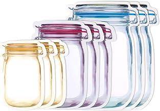 TOROTON Mason Jar Bottles Bags, Food Storage Snack Sandwich Ziplock Bags, Reusable Airtight Seal Food Storage Bags for Tra...