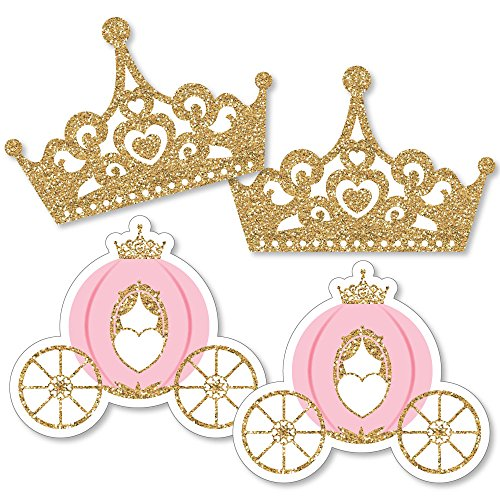 Little Princess Crown - Tiara & Carriage Decorations DIY Pink and Gold Princess Baby Shower or Birthday Party Essentials - Set of 20