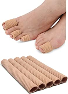 Toe Sleeves 5 Pack Silicone Gel Compression Toe & Finger Protector Cushion Tubes - Bandage Pad for Corns, Calluses & Blisters
