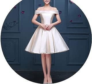 Luxury Satin Boat Neck Off-The-Shoulder A-line Blue Short Bridal Party Elegant Prom Dress