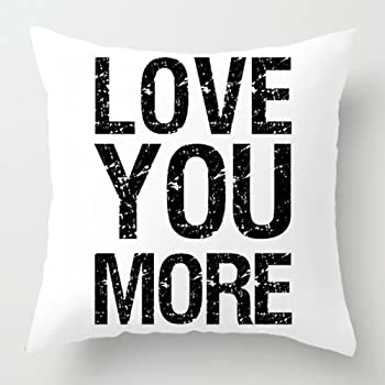 I Love You More KACOPOL Inspirational Quote Throw Pillow Covers Super Soft Short Plush Home Decor Pillow Case Cushion Cover Words Sofa Square 18x18 Inches