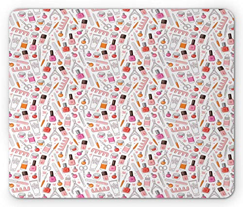 Mousepad Make-Up Illustration Von Girly Nagellack Glamour Lotion Frauen Zubehör Clippers Magenta Hellrosa Rutschfeste Computer Vintage Schule Rechteck Standardgröße Mauspads Spezi