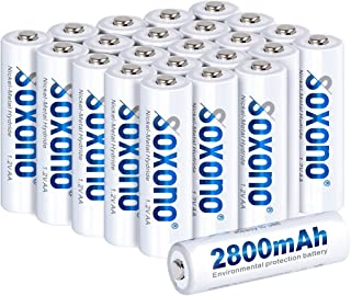 Sonoxo AA Batteries Rechargeable,AA Rechargeable Batteries 2800mAh High Capacity AA Battery 1.2V Ni-MH Low Self Discharge 24 Pack