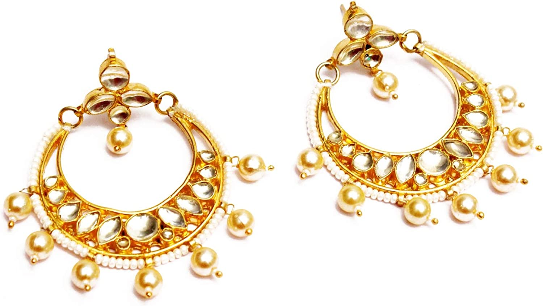 Gold Kundan Bridal Traditional Bollywood Wedding Earrings Jewelry Set