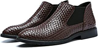 AiHua Huang Chelsea Boot for Men Ankle Shoes Pull on PU Leather Rubber Sole Pointed Toe Elastic Sides Knit Non-Slip Wear-Resisting Solid Color (Color : Brown, Size : 8 UK)