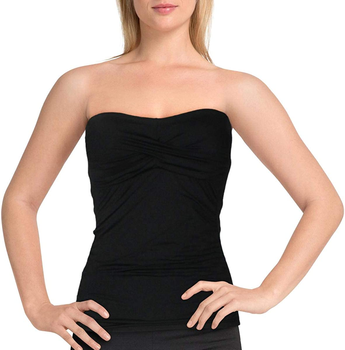 Anne Cole Women's Solid Twist Front Shirred Bandeau Tankini Swim Top