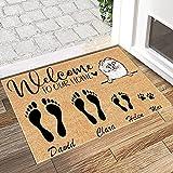 Welcome Mats for Front Door Customized Name Pomeranians White Cartoon Welcome Home 15'x25' Non Slip Door Mats for Entrance Indoor, Outdoor, Floor Rug Decor