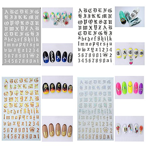 AIUIN Nagelsticker, 4 Stück, mit handschriftlichen Buchstabenmustern in Englisch, Nagelspitzenschablone, Maniküre-Nagelset Stil 6