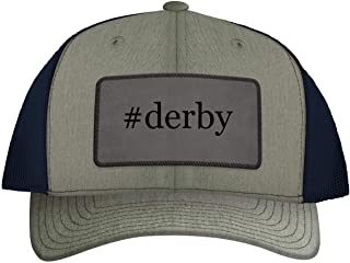One Legging it Around #Derby - Leather Hashtag Grey Patch Engraved Trucker Hat