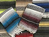 MEXIMART Yoga Blanket Hand Woven Authentic Mexican Falsa in Assorted Random Color (6'X4')