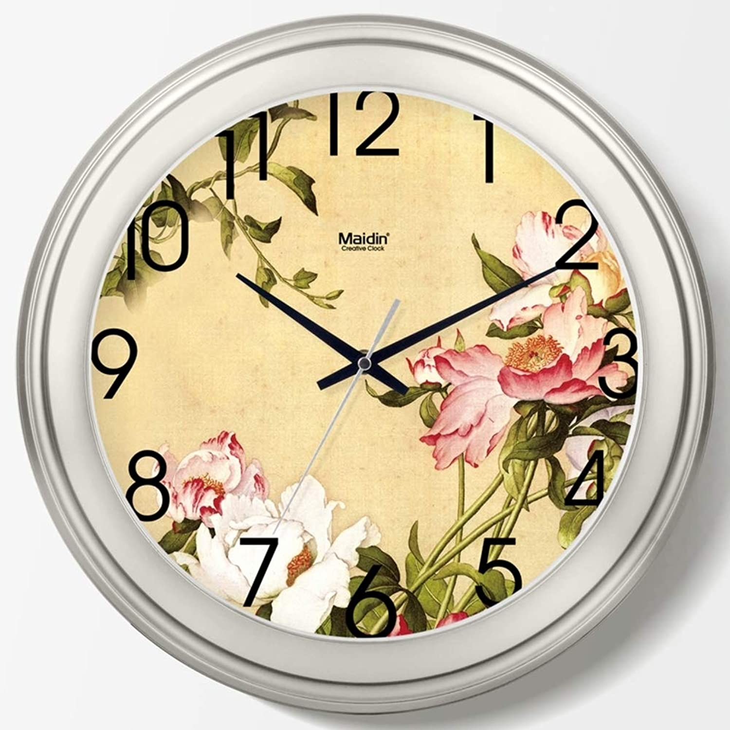 European Vintage Wall Clock Peony Accurate Silent Round Glass Cover Quartz for Living Room BedroomD 25cm(9.8inch)
