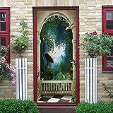 Calcomanías de las puertas 3D Arcos y setas (77X200Cm) Vinilo Impermeable Murales de Papel Decorativos Para el Hogar Baño Sala de estar Dormitorio Decoración