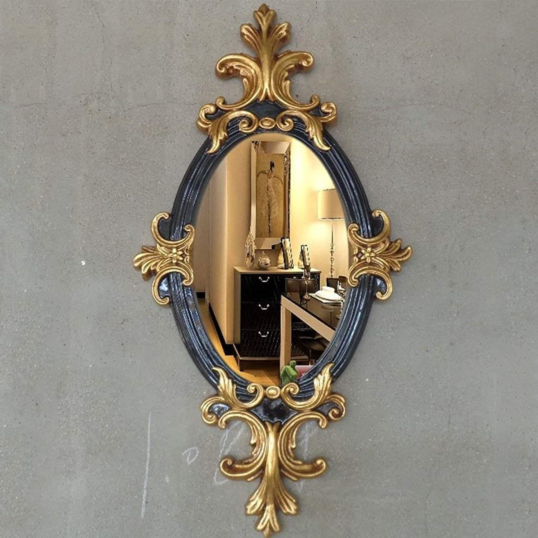 XIUXIU Mirror Nordic Classical Bathroom Wall Mounted Vanity Mirror Irregular Oval Resin HD Makeup Mirror