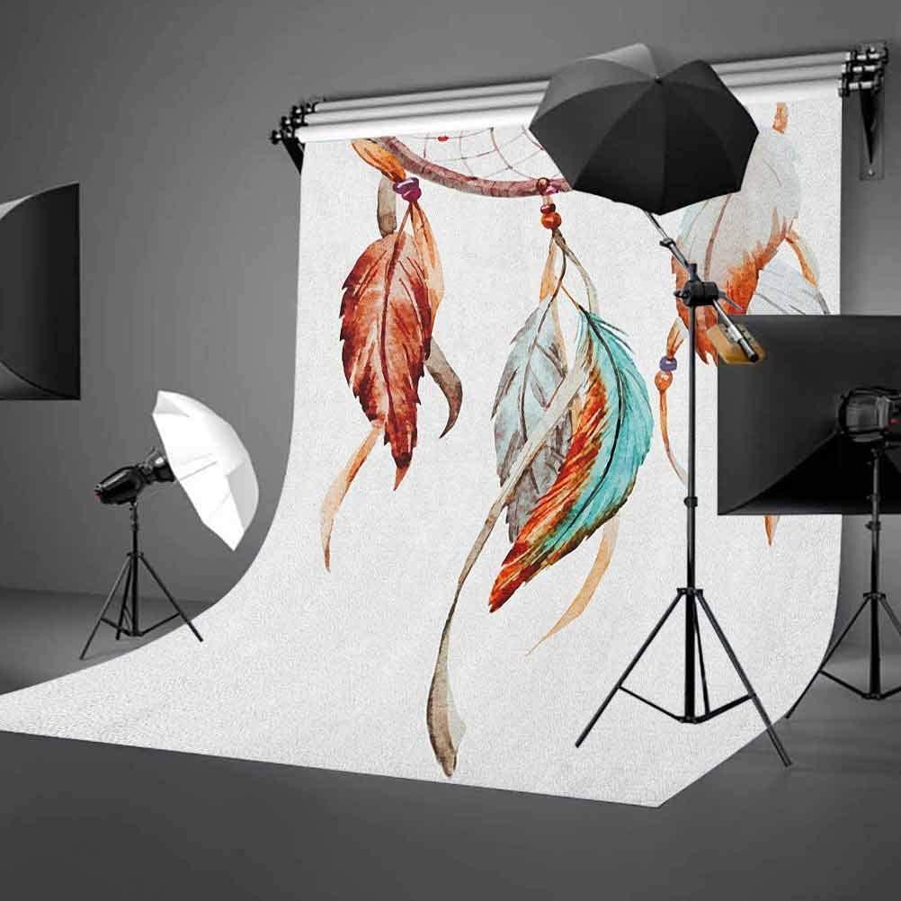 8x12 FT Garden Vinyl Photography Backdrop,Doodle Abstract Exotic Flowers Colorful Ornate Leaves Petals Festive Tropical Print Background for Party Home Decor Outdoorsy Theme Shoot Props