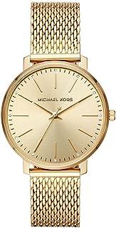 ساعة يد انالوج بتصميم دائري من الستانلس ستيل بلون ذهبي من مايكل كورس للنساء MK4339 - لون ذهبي
