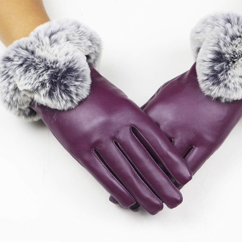 FASGION Women Leather Gloves Full Finger Gloves Black Thicken Winter Keep Warm Rabbit Fur Mittens Touch Screen Elegant Gloves Hand Warm (Color : Purple, Gloves Size : One Size)