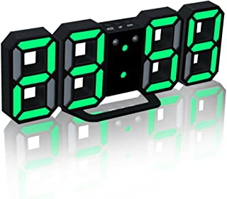 EAAGD Electronic LED Digital Alarm Clocks [Upgrade Version], Clock Can Adjust The LED Brightness Automatically in Night (Black/Green)