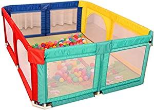 CXHMYC Portable playground for children children  safe playpen with safety mat and 100 balls bedsteads 180 190  color