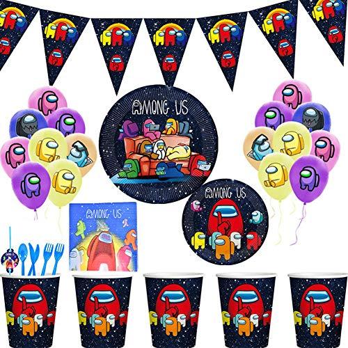 XYDZ Among Us Partygeschirr Kindergeburtstag 112 Stück Set Tischdeko , Among Us Pappbecher, Dessertteller, Pappteller , Zugfahne, Servietten, Strohhalme, Luftballons für 10 Gäste