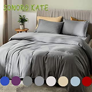 """SONORO KATE Bed Sheet Set Bamboo Sheets Deep Pockets 16"""" Eco Friendly Wrinkle Free Sheets Hypoallergenic Machine Washable Hotel Bedding Silky Soft (Dark Grey, Queen)"""