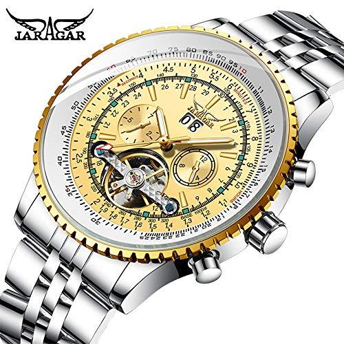 Relojes Serie Aviator Reloj Bisel Dorado Escala Dial Acero Inoxidable Reloj para Hombre Reloj Mecánico Automático Oro Amarillo