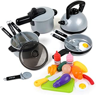 Beebeerun 22 Pcs Kids Kitchen Pretend Play Toys, Cookware Toys with Pots and Pans for Toddlers Girls Boys, Cooking Playset Toys for 2 3 4 5 6 7 Years Old, Kitchen Playset Accessories with Play Food