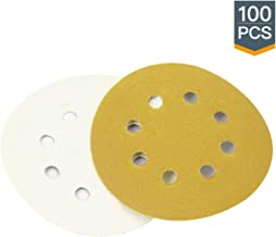 Powertec 44001XG-100 Disco de lijado de 8 agujeros de 5 pulgadas, grano surtido 80, 100, 120, 150, 220, dorado, paquete de...