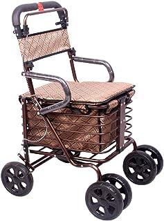 ウォーカースモールカートオールドカート食料品ショッピングカート車椅子可高齢高齢者用折りたたみ式ウォーカー四輪ショッピングカート/スクーター積載量100kg (Color : BROWN, Size : 56*70*85CM)