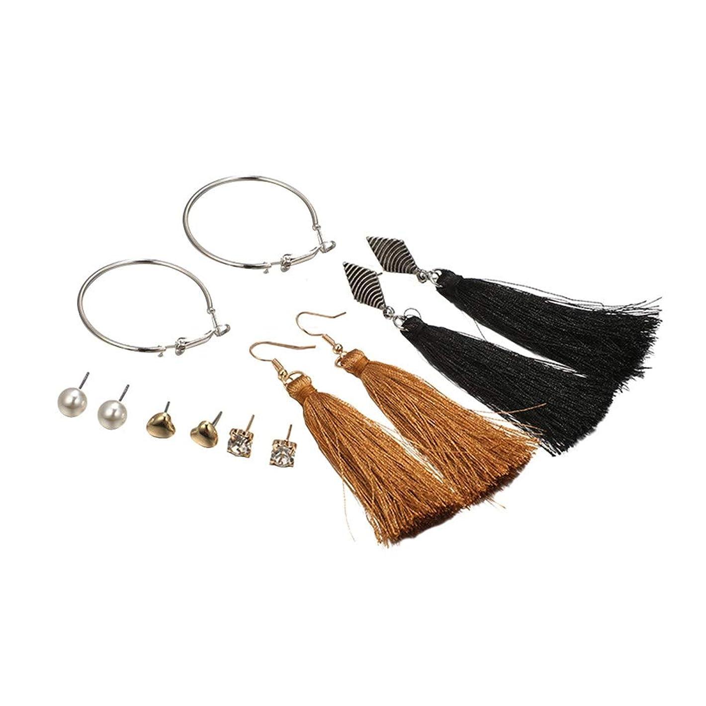 Nicircle ダイヤモンドハートレトロロングタッセルイヤリングスタッドピアスセットサークルパール Circle Pearl Set With Diamond Heart Retro Long Tassel Ear Stud Earrings