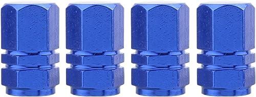 TOMALL L'hexagone monte le bleu de chrome de bouchons de valve de pneu de pneu pour le vélo de motos