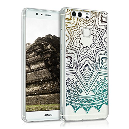 kwmobile TPU Case Compatible with Huawei P9 - Case Soft Crystal Clear IMD Design Phone Cover - Aztec Sun Yellow/Turquoise/Transparent