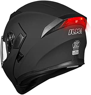 ILM Motorcycle Dual Visor Flip up Modular Full Face Helmet DOT LED Light (M, MATTE BLACK - LED)