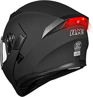 ILM Motorcycle Dual Visor Flip up Modular Full Face Helmet DOT LED Lights (L, MATTE BLACK..