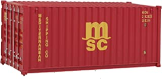 Walthers SceneMaster HO Scale Model of Mediterranean Shipping Co. (MSC) (Red) 20' Corrugated Container
