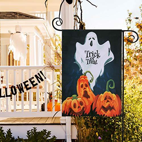 IBLUELOVER - Bandera de Halloween con diseño de calabaza, fantasma, decoración de Halloween, banderas de jardín, decoración para casa, césped, oficina, etc.