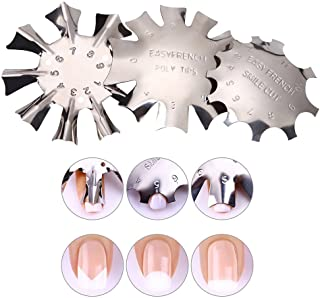 WOKOTO 3pcs Easy French Smile Line Gel Cutter Tool Staniless Steel C-Shape Manicure Edge Trimmer Diy Plate Module (3 Patte...