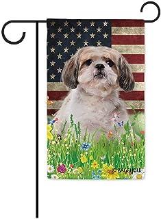 BAGEYOU Cute Puppy Shih Tzu Garden Flag Lovely Pet Dog American US Flag Wildflowers Floral Grass Spring Summer Decorative ...